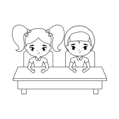 kleine Schüler sitzen in der Schulbank vektor