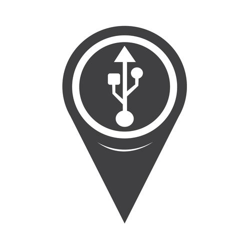 Map Pointer Usb-ikon vektor