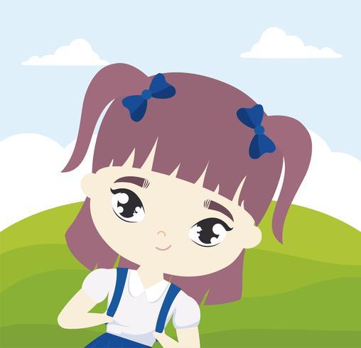 süße kleine Studentin in Landschaftsszene vektor