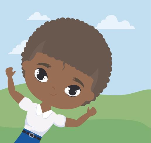 Süße kleine Student junge Afro in Landschaftsszene vektor