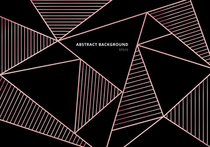 Abstraktes Luxusrosagoldpolygonales Muster auf schwarzem Hintergrund. Schöne Vorlage mit Roségold geometrischen und Zeilendekoration. vektor