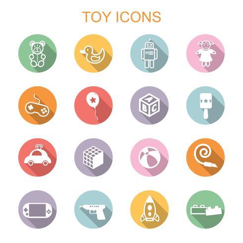 leksak långa skugga ikoner vektor