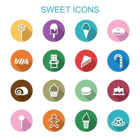 söta långa skugga ikoner vektor