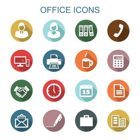 office långa skugga ikoner vektor