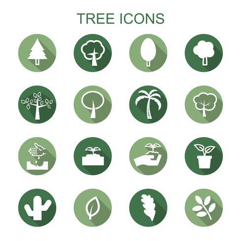 träd långa skugga ikoner vektor
