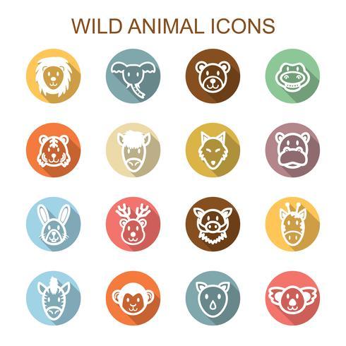 vilda djur långa skugga ikoner vektor
