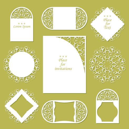 Bröllopsinbjudningar. Spetsbakgrund med plats för text. Spetsramar för dekoration och design. vektor