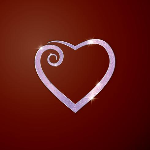Hjärta för gratulationskort. Dekorativ prydnad för semester gratulationskort för alla hjärtans dag, bröllop, födelsedag, kärleksförklaring. vektor