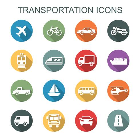 Transport lange Schatten Symbole vektor