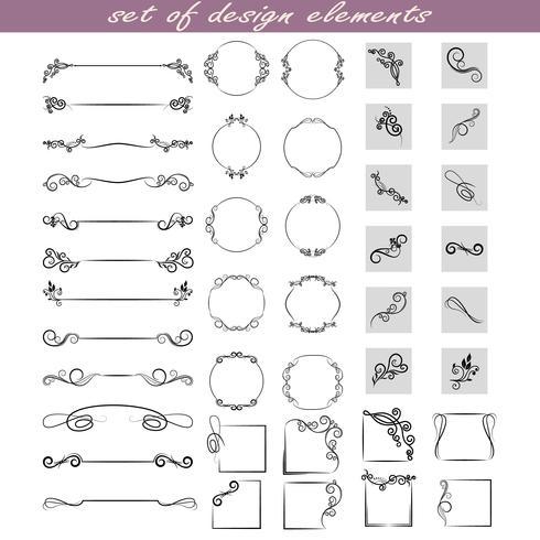 Reihe von Gestaltungselementen, Rahmen, Trennwände, Grenzen. Vektorabbildung für Auslegung der Seiten. vektor