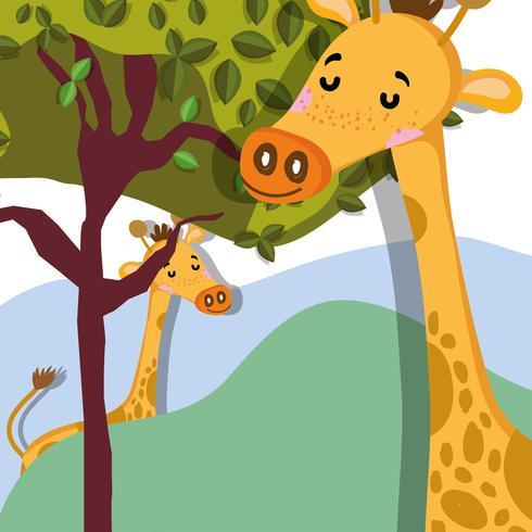 Niedlicher Cartoond der niedlichen Giraffenwild lebender tiere vektor