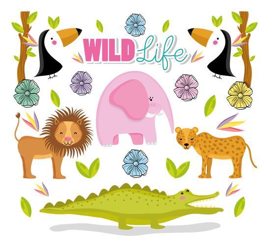 Niedliche Tiere der wild lebenden Tiere vektor