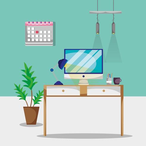 Schreibtisch mit Büroaccessoires zum Arbeiten vektor