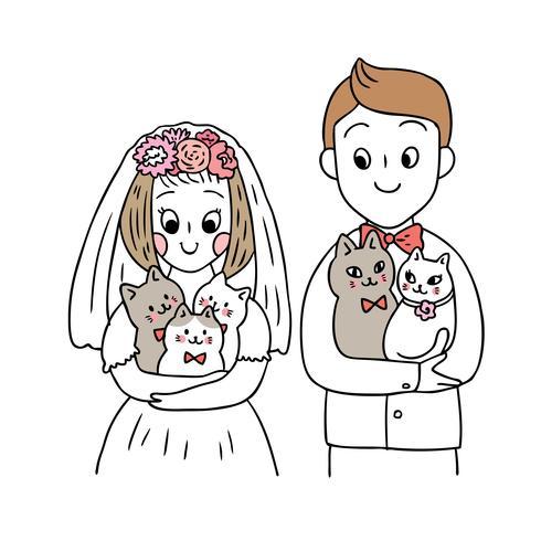 Söt bröllop och kattvektor för tecknad film. vektor