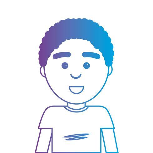 linje man med frisyr och t-shirt design vektor