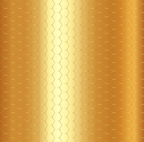 Abstrakt guld- hexagonmodell på guldmetallisk bakgrund. vektor