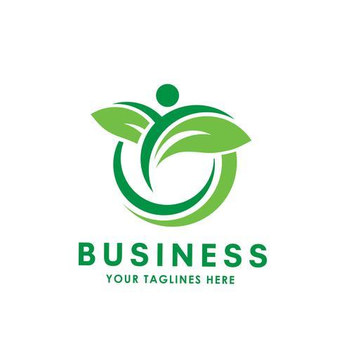 grönt blad cirkel vektor logotyp
