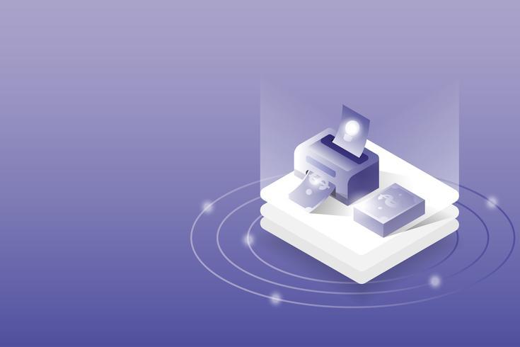 sometric 3D-Drucker Idee zu Geld. Geschäfts- und Finanzkonzept. vektor