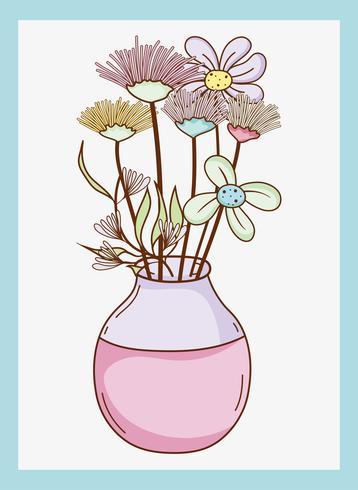 Bukett av blommor i vasmästervas vektor