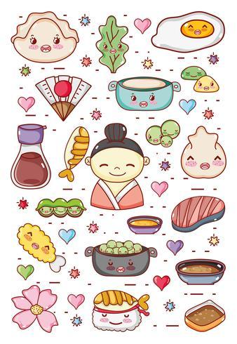 Japanska gastronomi söta kawaii-tecknade filmer vektor
