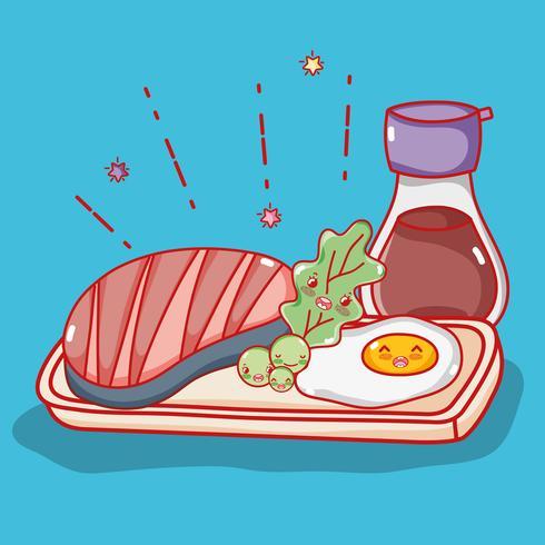 Nette kawaii Karikaturen der japanischen Gastronomie vektor