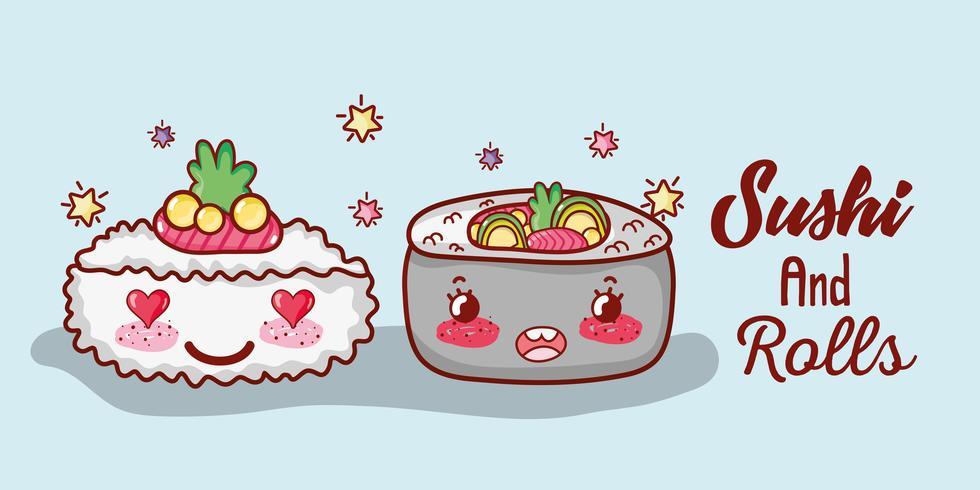 Sushi och rullar söta kawaii-tecknade filmer vektor