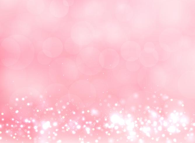 Abstrakt rosa suddig ljus bakgrund med bokeh och glittereffekt. vektor