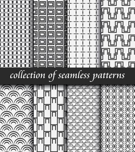 Uppsättning av sömlösa art deco mönster. Snygga moderna strukturer. abstrakta bakgrunder vektor