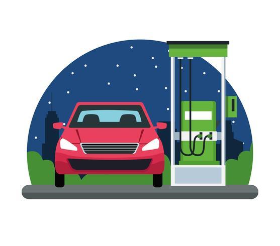 Auto in einer Tankstelle-Symbol vektor