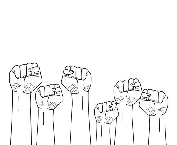 erhobene Fäuste Hände vektor