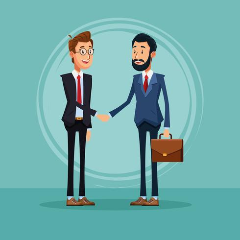 Geschäftsmänner, die über Geschäftskarikatur sprechen vektor