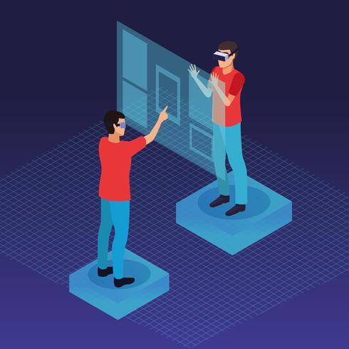 Människor som leker med virtuell verklighet vektor