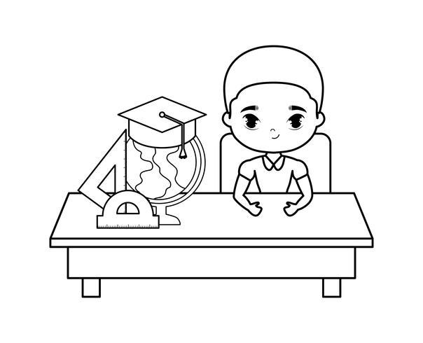 Studentenjunge, der in der Schulbank mit Versorgungsmaterialbildung sitzt vektor
