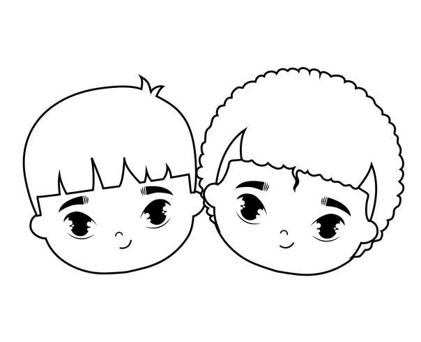 huvuden på söta små barn avatar karaktär vektor