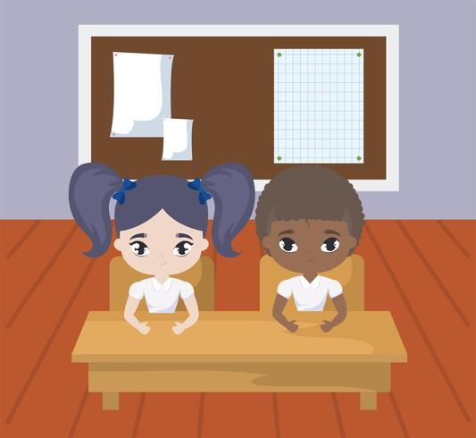 små elever i klassrumsscenen vektor