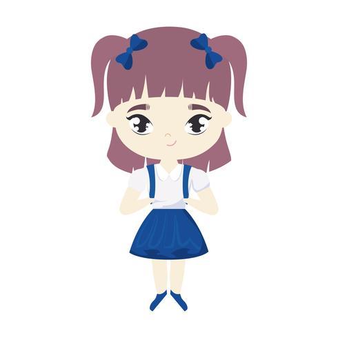 süße kleine Studentin Mädchen Avatar Charakter vektor