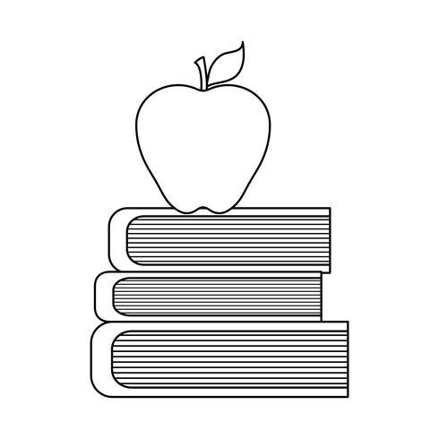 Stapel der Bibliotheksbücher mit Apfelfrucht vektor