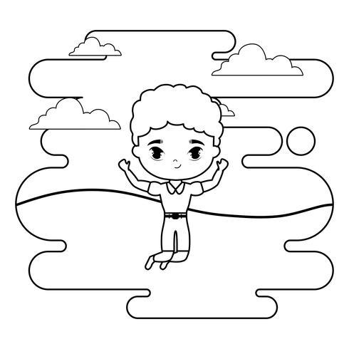 süßer kleiner Student Junge in Landschaftsszene vektor