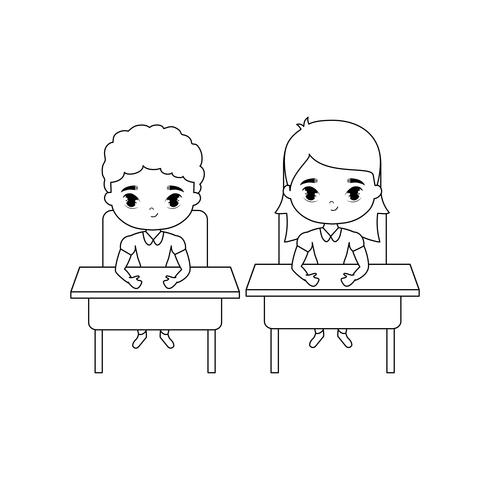 kleine Schüler sitzen in Schultischen vektor