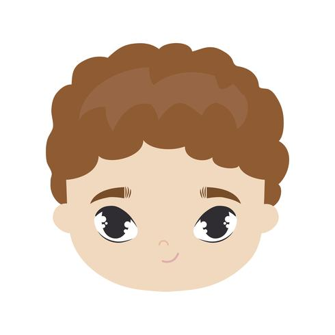 Kopf des netten Avatar-Charakters des kleinen Jungen vektor