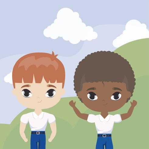 niedliche kleine Studentenkinder in der Landschaftsszene vektor