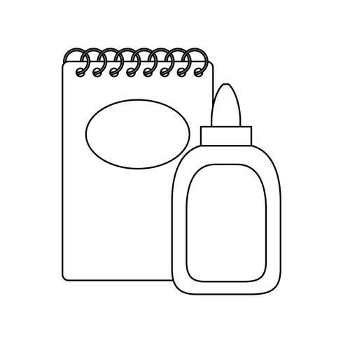 anteckningsbokskola med limflaska vektor