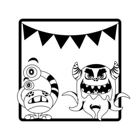einfarbiger Rahmen mit hängenden Monstern und Girlanden vektor