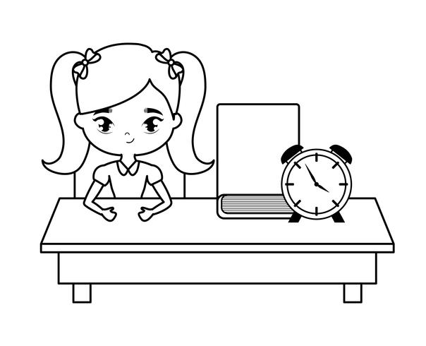 Studentenmädchen, das in der Schulbank mit Versorgungsmaterialbildung sitzt vektor