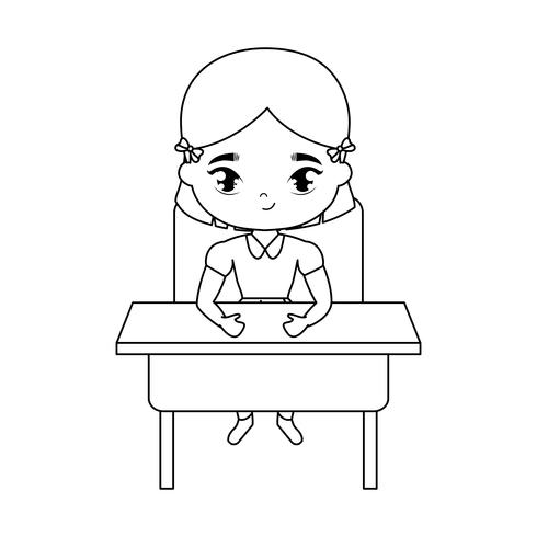 kleines Studentenmädchen, das in der Schulbank sitzt vektor