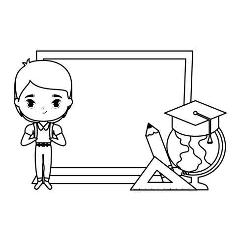 süsser kleiner Student Junge mit Brett und Schulmaterial vektor
