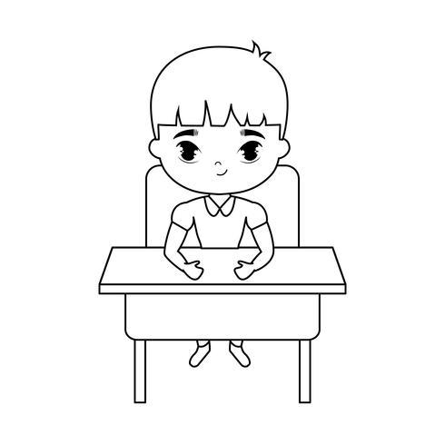 liten studentpojke som sitter i skrivbordet vektor