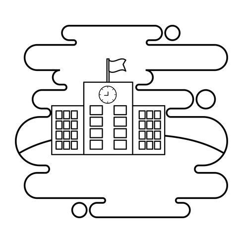 Schulgebäude Fassade in Landschaftsszene vektor