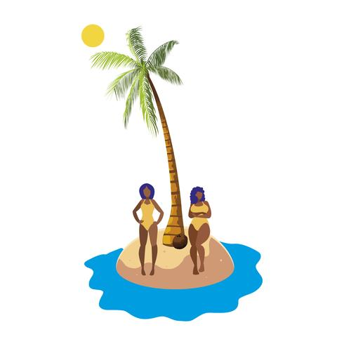 unga afro flickor par på stranden sommar scen vektor