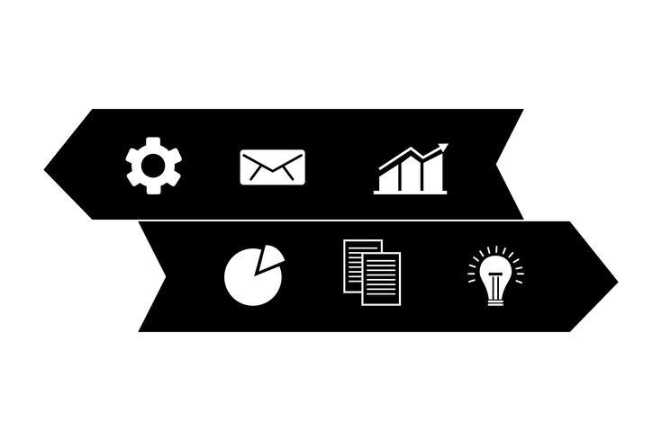 zwei Pfeile Infografiken mit Geschäfts-Ikonen vektor